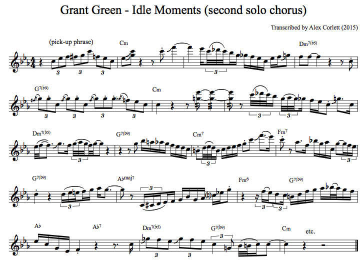 Grant Green's second chorus of improvisation during Idle Moments
