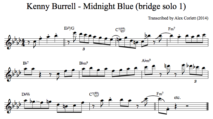 Kenny Burrell's playing on the bridge of Midnight Blue during his first solo chorus.